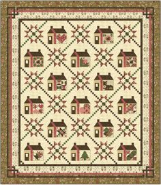 "marie webster quilt patterns | Pattern for large Queen/King Quilt. Each house has adifferent ""Homey ..."