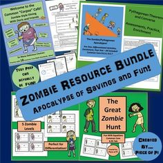 Bundled Savings! Pre Algebra Topics: Multi Step Equations. Pythagorean Theorem and Converse. Task Cards. Differentiated Resources. Assessments. 18 Common Core Math Standards are covered with this ZOMBIE bundle! Save over 20%, rather than buying each resource separately!  My students and I LOVE zombies, and this bundle is engaging, fun, and rigorous. Test prep and review can actually be fun! These are my top selling, top-rated resources!