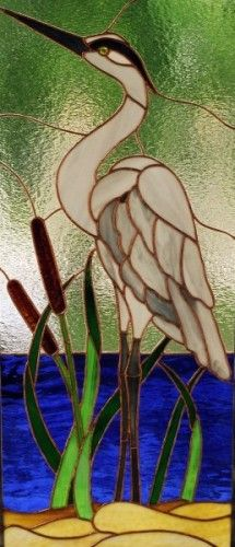 Stained Glass Corner | Paddlewheel Stained Glass blue heron