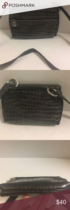 Brighton gray croc embossed leather Crossbody This is a super nice Brighton  gray crocodile embossed leather Crossbody. Very good condition inside and out. Has silver hardware.  Front zipper pocket. Zipper closure. Main compartment has five credit card compartments and zipper pocket. Rear slip pocket.  Clean Brighton Bags Crossbody Bags