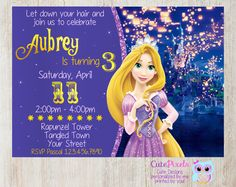 Rapunzel Invitation Tangled Invitation, Click to see details, Use Coupon Code PIN15 to get 15%off - CutePixels shop http://etsy.me/1S7ksKd