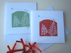 Set of two Handmade Linocut Christmas Cards  by TheBluebirdGallery,