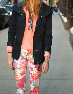 Love the bright floral print, the simplicity of the blouse the anorak jacket!