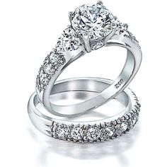 Bling Jewelry Forever In Love Ring ($50) ❤ liked on Polyvore featuring jewelry, rings, wedding ring, accessories, clear, wedding-ring-sets, wedding jewellery, heart shaped engagement rings, wedding band jewelry and wedding band engagement ring