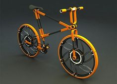 Folding bicycle. This bicycle can be folded and reassembled.