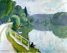 Albert Marquet (1875 - 1947) Bords de rivière( Bords de la Marne; Le pêcheur) 1913