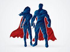 Superhero Homme et femme debout conçus en utilisant une brosse grunge vecteur graphique rouge et bleu. Banque d'images - 55686492
