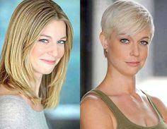 20 Before and After pictures of short haircuts - Long Bob Hairstyles 2019 Long To Short Hair, Short Hair With Layers, Long Hair Cuts, Short Hair Styles, Blonde Pixie, Pictures Of Short Haircuts, Before And After Haircut, Extreme Hair, Short Hair