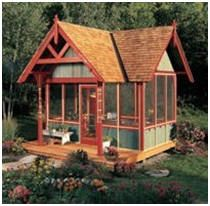 These plans include an outdoor kitchen, an old west storefront shed, an old-time school house design, screen houses, a shed that doubles as a playhouse, another that provides solar hot water, an octagonal shed and more.  Photo - The Family Handyman Magazine