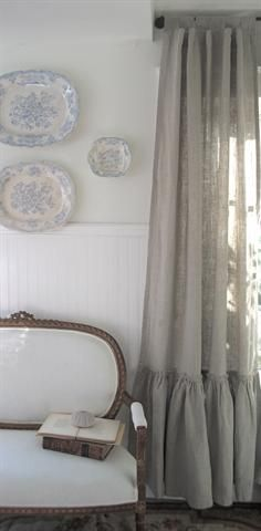 The Vintage Ruffle Linen Curtain Panel in Flax