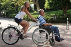 Truly a bicycle built for Imagine a beautiful bike ride with a loved one through a park like this. Looks like fun! A wheelchair bike is beautiful engineering. Velo Tricycle, Adult Tricycle, Velo Cargo, Wheelchair Accessories, Adaptive Equipment, Medical Equipment, Mobility Aids, Tandem, Cool Bikes