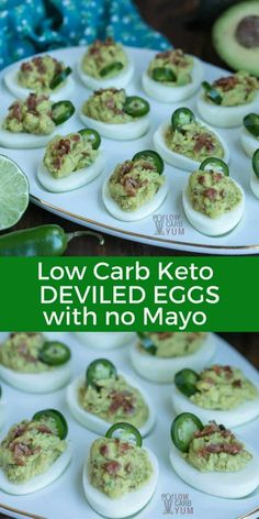 For a change of pace, try these spicy keto deviled eggs without mayo. They can be made mild to hot depending on the preference. And they are quick and easy to prepare. #keto #ketorecipe #lowcarb | LowCarbYum.com via @lowcarbyum
