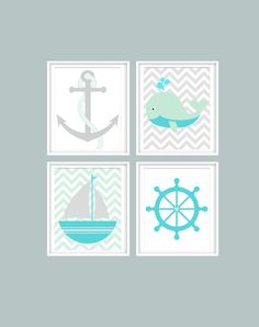Baby Boy Nursery Prints, Nursery Art, Nautical Nursery, Chevron, Teal, Green, Grey, Ocean, Anchor, Whale, Sea life, Sailboat, Sea foam Green by LittleMonde on Etsy https://www.etsy.com/listing/222932604/baby-boy-nursery-prints-nursery-art