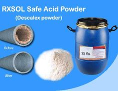 Safe Acid Descalex powder  Fast and effctive scale remover.  is a superior heavy duty POWDER containing  accelerators, corrosion  inhibitors & wetting agents with scale dissolver. Specifically formulated to remove rust and water scale build up from boiler evaporators, heat exchangers, cooling systems, pipeline collection system etc. Highly effective on heating. Safe and easy handling and storage.  click this link; http://www.dubichem.com/safe-acid-descalex-scale-rust-remover-powder