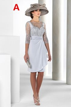 174e64bea6 Knee-length Mother of the Bride Dress With Beading Cascading Ruffles