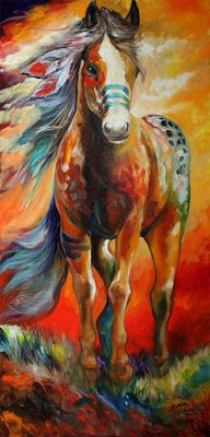 American Art Moves!: LARGE ORIGINAL OIL PAINTING SOUTHWEST COLORS INDIAN WAR HORSE by MARCIA BALDWIN