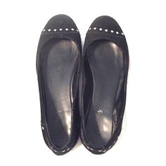 Black studded flats Black flats with silver studs around toes and heels Candie's Shoes Flats & Loafers