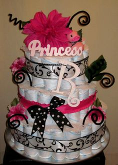 Hot Pink & Black Girly 3-tiered Diaper Cake