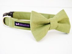 This listing is for the dog collar and bow tie set. Your pup will show off in this classic olive green Tobias Collar Bow Tie set. Perfect for weddings or any occasion!  All bow ties are removable and are attached with Velcro and a stretchable strap to keep it in place.
