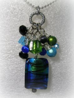 Foil Glass Bead Cluster Necklace