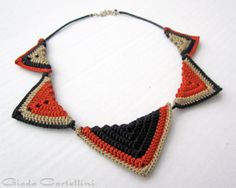 COROLLA - Ethnic collar, Necklace, Cotton yarn, 100% vegan, cruelty free, fiber, waxed cotton cord, triangles, black, earthenware, lead