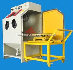 rotary table blasting cabinet machine with cart - China rotary table sandblasting cabinet machine