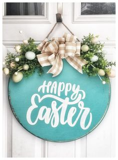 Wooden Door Signs, Wooden Front Doors, Diy Wood Signs, Easter Projects, Easter Crafts, Spring Crafts, Holiday Crafts, Rustic Farmhouse, Farmhouse Style