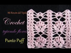 Step by step video tutorial crocheting flowers with puff stitch - Paso a paso flores con punto puff a crochet Puff Stitch Crochet, Crochet Motif, Crochet Flowers, Free Crochet, Irish Crochet Patterns, Crochet Designs, Diy Finger Knitting, Step By Step Crochet, Knitting Charts