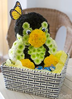 Cute Penguin Made of Fresh Flowers only @ Toy Florist