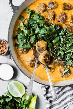 turkey meatballs in creamy red curry sauce