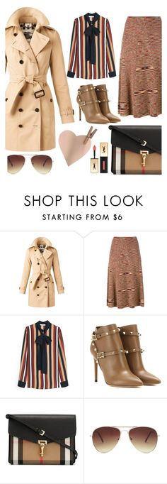 """""""Trench Coat"""" by bysc ❤ liked on Polyvore featuring Burberry, Adam Selman, MANGO, Valentino, Forever 21, Yves Saint Laurent, women's clothing, women's fashion, women and female"""