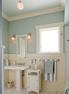 When your budget's not ready for a remodel, set your sights on smaller DIYs you can tackle yourself. Most Popular Small Bathroom Remodel Ideas on a Budget in 2018 Coastal Bathrooms, Beach Bathrooms, Small Bathroom, Downstairs Bathroom, Cream Bathroom, Beachy Bathroom Ideas, Seafoam Bathroom, Seaside Bathroom, Bathroom Colours