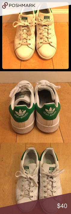 Adidas Stan Smiths The very popular adidas stan smith sneakers with green accents. The shoes are technically a kids size 5, but I am normally a women's 7 and these fit fine. Adidas Shoes Sneakers