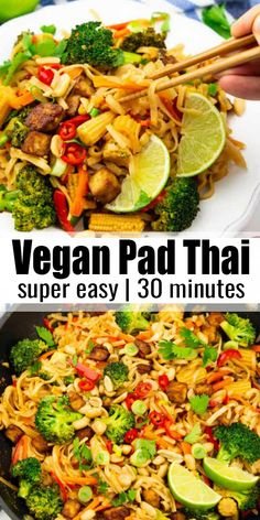 This vegan Pad Thai with crispy tofu and vegetables makes the perfect weeknight dinner! It's super easy to make, packed with flavor, and it's ready in just 30 minutes. Find more vegan recipes at… Easy Thai Recipes, Tofu Recipes, Vegan Dinner Recipes, Whole Food Recipes, Healthy Recipes, Thai Vegetarian Recipes, Easy Vegan Pad Thai Recipe, Healthy Breakfasts, Healthy Thai Food