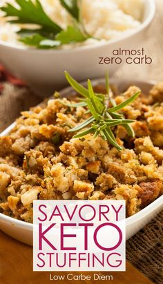 Gluten-free keto stuffing with almost no carbs and seasonal mix of herbs offers . Gluten-free keto stuffing with almost no carbs and seasonal mix of herbs offers homey comfort. A perfect base for ju Keto Foods, Ketogenic Recipes, Keto Recipes, Ketogenic Diet, Dessert Recipes, Dinner Recipes, Keto Desserts, Diabetic Recipes, Drink Recipes