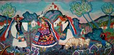 "Hungarian Folk Art - Oil on Canvas - 25""x 12"" Pekary Istvan (1905-1981)"