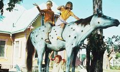 """'He's the strongest man in the world.' 'Man, yes,' said Pippi, 'but I am the strongest girl in the world, remember that."""" Pippi lifts her horse with Annika and Tommy on it Best Pippi Longstocking quotes Pippi Longstocking, Pet Monkey, Quirky Quotes, Book Sites, Strong Girls, Child Love, Music Tv, Quotes For Kids, Beautiful Horses"""