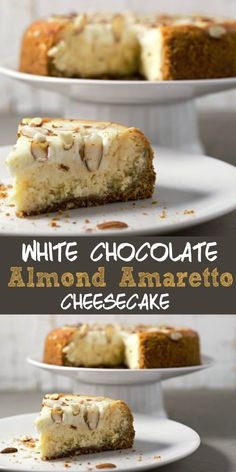 This elegant White Chocolate Almond Amaretto Cheesecake is gorgeous AND delicious! It starts with a homemade graham and almond crust. Then it's filled with a creamy dense cheesecake flavored with white chocolate, almond, and Amaretto. And finally, it is covered with a sweet and decadent sour cream and almond flavored topping and then garnished with sliced almonds. This small batch recipe makes 4 servings. #cheesecake #SmallBatch #DessertForTwo #RecipesForTwo #Amaretto #WhiteChocolate…