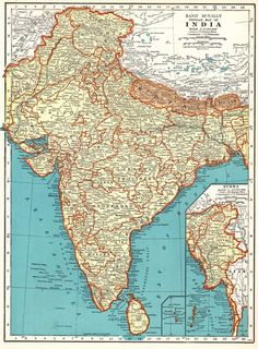 1937 Antique INDIA Map Vintage Map of BURMA MAP of India Gallery Wall Art 6169 Old Maps, Antique Maps, Vintage Maps, Asia Map, Map Pictures, Framed Maps, Vintage India, Historical Maps, Plans
