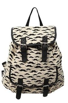Mustache backpack......... Love this!