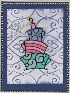 Waky birthday cake peel-off silk glitter colored with copics.  Elizabeth craft designs