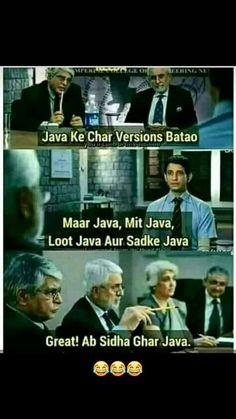 Knowledge in java 😅😆😂😂 Govinda Govinda🤣🤣🤣🤣 Sarcastic Jokes, Funny Jokes In Hindi, Very Funny Jokes, Really Funny Memes, Funny Qoutes, Crazy Funny Memes, Good Jokes, Jokes Quotes, Funny Relatable Memes