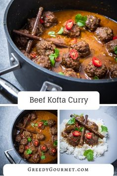 If you love koftas of any kind, then you'll love this beef kofta curry! This beef kofta curry has a wonderful spice mix, topped with fresh red chilli peppers and served with a side of rice. Dare to explore! Best Beef Recipes, Curry Recipes, Indian Food Recipes, Gourmet Recipes, Healthy Recipes, Favorite Recipes, Thai Recipes, Rice Recipes, Amigurumi