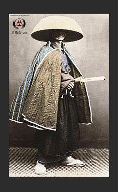 Samurai wearing kasa (hat) and gappa (cape).
