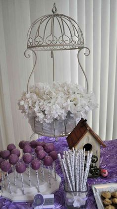 Lavender Baby Bird Shower | CatchMyParty.com