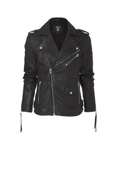 CASSIDY scores with its slightly matte look. This cool biker jacket made of 100% soft sheep leather has all the right biker details like shoulder epaulettes, side straps at hips an