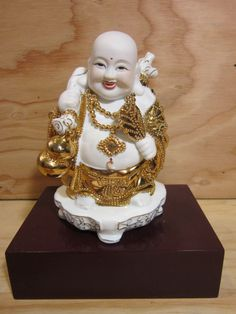 """Vintage Porcelain Budai AKA Laughing Buddha Presented in a Wooden Base * 8 3/4"""" High Including the Wooden Base by RainbowConnection15 on Etsy"""