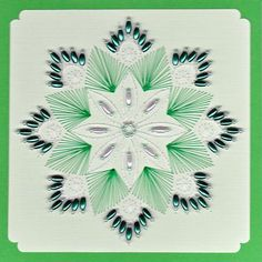 ED056 Green flower mandala on Craftsuprint designed by Emy van Schaik - made by - Stitching with beads.Use cardstock fot the stitching. The beads I used are long grain- and glassbeads. You can use this card for a birthday or any other occasion. - Now available for download!