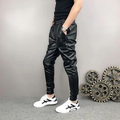 #Mens #Hip #Hop #Elastic #Waist #Genuine #Black #Leather #Harem #Joggers #Pants Jogger Pants, Joggers, Mens Leather Pants, Stylish Mens Fashion, Body Armor, Parachute Pants, Elastic Waist, Hip Hop, Black Leather