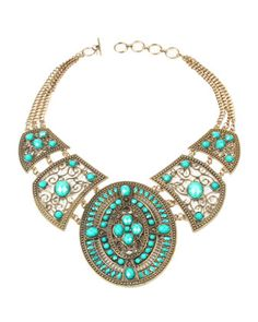 Amrita Singh - Resin-Bead Bib Necklace, Turquoise - Last Call By Neiman Marcus